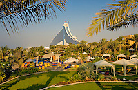 Dubai.  View of Jumeirah Beach Hotel over executive pool area and gardens..