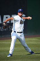 Caleb Ferguson (22) of the Rancho Cucamonga Quakes throws in the outfield before pitching against the Stockton Ports at Loan Mart Field on July 16, 2017 in Rancho Cucamonga, California. Rancho Cucamonga defeated Stockton 9-1. (Larry Goren/Four Seam Images)