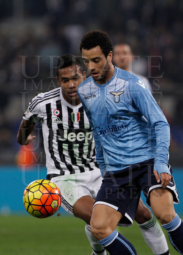Calcio, Serie A: Lazio vs Juventus. Roma, stadio Olimpico, 4 dicembre 2015.<br /> Lazio's Felipe Anderson, right, is chased by Juventus' Alex Sandro during the Italian Serie A football match between Lazio and Juventus at Rome's Olympic stadium, 4 December 2015.<br /> UPDATE IMAGES PRESS/Isabella Bonotto