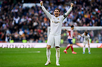 Sergio Ramos of Real Madrid celebrates the victory during La Liga match between Real Madrid and Atletico de Madrid at Santiago Bernabeu Stadium in Madrid, Spain. February 01, 2020. (ALTERPHOTOS/A. Perez Meca)<br /> 01/02/2020 <br /> Liga Spagna 2019/2020 <br /> Real Madrid - Atletico Madrid  <br /> Foto Alterphotos / Insidefoto <br /> ITALY ONLY