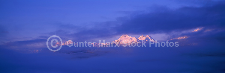 Tantalus Range (Coast Mountains) at Sunrise, along Sea to Sky Highway (Hwy 99) near Whistler and Squamish, BC, British Columbia, Canada - Panoramic View
