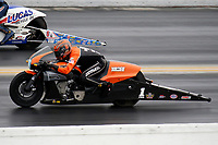 27th September 2020, Gainsville, Florida, USA;  Pro Stock Motorcycle driver Andrew Hines (1) during the 51st annual Amalie Motor Oil NHRA Gatornationals
