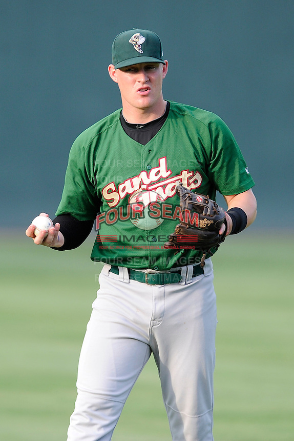 Designated hitter Matt Oberste (23) of the Savannah Sand Gnats in a game against the Greenville Drive on Friday, August 22, 2014, at Fluor Field at the West End in Greenville, South Carolina. Greenville won, 6-5. (Tom Priddy/Four Seam Images)