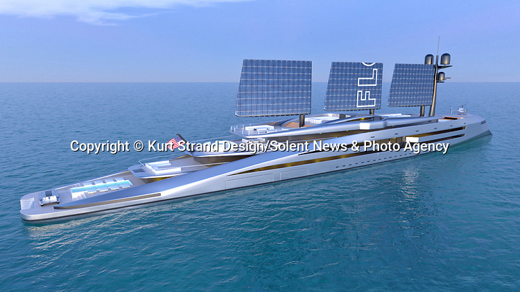 Pictured:  Exterior - sails retracted<br /> <br /> An incredible new eco-friendly £580m super yacht powered by retractable solar-panelled 'sails' has been revealed.  The 'Florida' yacht's enormous 80 metre tall carbon fibre 'sails' can power the vessel, either by solar energy, or wind.<br /> <br /> The innovative 160 metre-long design was dreamt up by Florida-based Norwegian designer Kurt Strand.  On days when there is no wind, the super yacht will be able to transform into 'solar sail' mode.  SEE OUR COPY FOR DETAILS.<br /> <br /> Please byline: Kurt Strand Design/Solent News<br /> <br /> © Kurt Strand Design/Solent News & Photo Agency<br /> UK +44 (0) 2380 458800