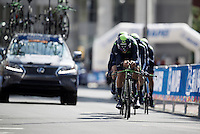 Team Movistar in the last kilometer before the finish<br /> <br /> <br /> Elite Men's Team Time Trial<br /> UCI Road World Championships Richmond 2015 / USA