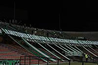 MEDELLIN - COLOMBIA, 21-02-2021: Hinchas del Nacional animan a su equipo durante partido por la fecha 8 de la Liga BetPlay DIMAYOR I 2021 entre Atlético Nacional y América de Cali jugado en el estadio Atanasio Girardot de la ciudad de Medellín. / Fans of Nacional cheer for their team during match for the date 8 as part of BetPlay DIMAYOR League I 2021 between Atletico Nacional and America de Cali played at Atanasio Girardot stadium in Medellín city. Photo: VizzorImage / Luis Benavides / Cont