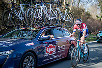 Dutch Road Champion Mathieu Van der Poel (NED/Alpecin-Fenix) checking in at the teamcar<br /> <br /> 53rd Le Samyn 2021<br /> ME (1.1)<br /> 1 day race from Quaregnon to Dour (BEL/205km)<br /> <br /> ©kramon