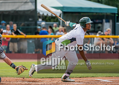 31 July 2016: Vermont Lake Monsters first baseman Miguel Mercedes in action against the Connecticut Tigers at Centennial Field in Burlington, Vermont. The Lake Monsters edged out the Tigers 4-3 in NY Penn League action.  Mandatory Credit: Ed Wolfstein Photo *** RAW (NEF) Image File Available ***