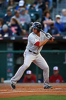 Pawtucket Red Sox second baseman Marco Hernandez (23) at bat during a game against the Buffalo Bisons on August 28, 2015 at Coca-Cola Field in Buffalo, New York.  Pawtucket defeated Buffalo 7-6.  (Mike Janes/Four Seam Images)
