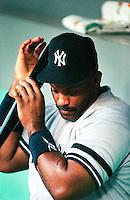 Cecil Fielder of the New York Yankees at Anaheim Stadium in Anaheim,California during the 1996 season. (Larry Goren/Four Seam Images)