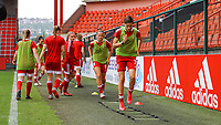 Standard players pictured during the warm up before a female soccer game between Standard Femina de Liege and KAA Gent Ladies on the second match day of the 2021 - 2022 season of Belgian Scooore Womens Super League , Saturday 28 th of August 2021  in Liege, Belgium . PHOTO SPORTPIX | SEVIL OKTEM