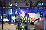 © Joel Goodman - 07973 332324 . 22/05/2017. Manchester, UK. Victoria Station . Police and other emergency services are seen near the Manchester Arena after reports of an explosion. Police have confirmed they are responding to an incident during an Ariana Grande concert at the venue. Photo credit : Joel Goodman