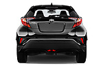 Straight rear view of 2017 Toyota C-HR C-Show 5 Door SUV Rear View  stock images