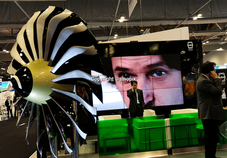 CFM at Asian Aerospace 2011 held in Hong Kong's Asia World Expo, Hong Kong, China. CFM combine the resources of two aircraft engine manufacturers, SAFRAN of France and GE of the U.S. Asian Aerospace is the world's largest single-focused exhibition and congress for the commercial aerospace and civil aviation market with particular emphasis on the Asia-Pacific region. This year a record of 270 exhibitors from 32 countries, and the number of Chinese companies increased by 42% comparing to last year..09 Mar 2011
