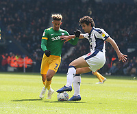 Preston North End's Callum Robinson and West Bromwich Albion's Ahmed Hegazy<br /> <br /> Photographer Stephen White/CameraSport<br /> <br /> The EFL Sky Bet Championship - West Bromwich Albion v Preston North End - Saturday 13th April 2019 - The Hawthorns - West Bromwich<br /> <br /> World Copyright © 2019 CameraSport. All rights reserved. 43 Linden Ave. Countesthorpe. Leicester. England. LE8 5PG - Tel: +44 (0) 116 277 4147 - admin@camerasport.com - www.camerasport.com