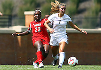WINSTON-SALEM, NORTH CAROLINA - September 01, 2013:<br /> Christine Exeter (22) of Louisville University loses the ball to Sarah Teegarden (7) of Wake Forest University during a match at the Wake Forest Invitational tournament at Wake Forest University on September 01. The match was abandoned early in the second half due to severe weather with Wake leading 1-0.