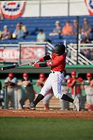 Batavia Muckdogs Samuel Castro (15) bats during a NY-Penn League game against the Auburn Doubledays on June 18, 2019 at Dwyer Stadium in Batavia, New York.  Batavia defeated Auburn 7-5.  (Mike Janes/Four Seam Images)