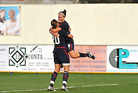 Abby Wambach hugs Lauren Cheney after Cheney scored her first of two goals.  The USA was victorious over Sweden 2-0 in Ferreiras on March 1, 2010 at the Algarve Cup.