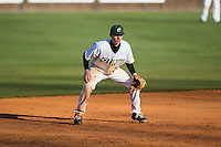 Charlotte 49ers third baseman Hunter Jones (33) on defense against the Louisiana Tech Bulldogs at Hayes Stadium on March 28, 2015 in Charlotte, North Carolina.  The 49ers defeated the Bulldogs 9-5 in game two of a double header.  (Brian Westerholt/Four Seam Images)