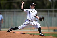 Edgewood Eagles Alex Meister (8) during the second game of a doubleheader against the UW-Stout Blue Devils on March 16, 2015 at Lee County Player Development Complex in Fort Myers, Florida.  UW-Stout defeated Edgewood 8-2.  (Mike Janes/Four Seam Images)