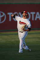 Collin Wiles (11) of the High Desert Mavericks warms up before pitching against the Lake Elsinore Storm at The Hanger on August 27, 2016 in Adelanto, California. Lake Elsinore defeated High Desert, 10-8. (Larry Goren/Four Seam Images)