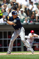 Milwaukee Brewers third baseman Cody Ransom #21 at bat during the Major League Baseball game against the Chicago White Sox on June 24, 2012 at US Cellular Field in Chicago, Illinois. The White Sox defeated the Brewers 1-0 in 10 innings. (Andrew Woolley/Four Seam Images).