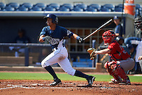 GCL Rays outfielder Oscar Rojas (6) at bat in front of catcher Andrew Noviello (59) during the first game of a doubleheader against the GCL Red Sox on August 4, 2015 at Charlotte Sports Park in Port Charlotte, Florida.  GCL Red Sox defeated the GCL Rays 10-2.  (Mike Janes/Four Seam Images)