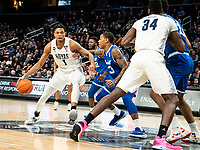 WASHINGTON, DC - FEBRUARY 05: Myles Powell #13 of Seton Hall defends against Jamorko Pickett #1 of Georgetown during a game between Seton Hall and Georgetown at Capital One Arena on February 05, 2020 in Washington, DC.