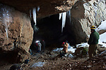 Researchers prepare to enter a mine infected with white-nose syndrome in eastern New York. Ulster County. January.