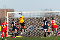 Sky Blue FC goalkeeper Brittany Cameron (1) makes a save. Sky Blue FC defeated the Western New York Flash 1-0 during a National Women's Soccer League (NWSL) match at Yurcak Field in Piscataway, NJ, on April 14, 2013.