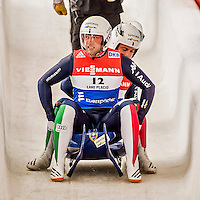 4 December 2015: Christian Oberstolz and Patrick Gruber, sliding for Italy, cross the finish line after their second run, finishing 5th for the day with a combined time of 1:28.483 in the Doubles Competition of the Viessmann Luge World Cup at the Olympic Sports Track in Lake Placid, New York, USA. Mandatory Credit: Ed Wolfstein Photo *** RAW (NEF) Image File Available ***