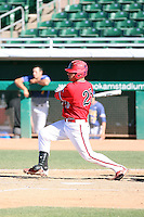 Jordan Ribera, Fresno State Bulldogs, playing against Hawaii in the championship game of the Western Athletic Conference tournament at Hohokam Park, Mesa, AZ - 05/30/2010. Hawaii won, 9-6, to capture its first league championship in 18 years..Photo by:  Bill Mitchell/Four Seam Images.