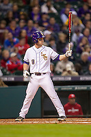 LSU Tigers shortstop Alex Bregman (8) at bat during the NCAA baseball game against the Houston Cougars on March 6, 2015 at Minute Maid Park in Houston, Texas. LSU defeated Houston 4-2. (Andrew Woolley/Four Seam Images)