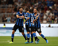 Calcio, Serie A: Inter Milano - Lecce, Giuseppe Meazza stadium, September 26 agosto 2019.<br /> Inter's Marcelo Brozovic (second from left) celebrates after scoring with his teammates during the Italian Serie A football match between Inter and Lecce at Giuseppe Meazza (San Siro) stadium, September August 26,, 2019.<br /> UPDATE IMAGES PRESS/Isabella Bonotto