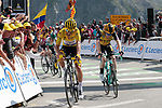 Yellow Jersey Julian Alaphilippe (FRA) Deceuninck-Quick Step finishes the stage in 2nd place wth Steven Kruijswijk (NED) Jumbo-Visma 3rd atop the Col du Tourmalet at the end of Stage 14 of the 2019 Tour de France running 117.5km from Tarbes to Tourmalet Bareges, France. 20th July 2019.<br /> Picture: Colin Flockton | Cyclefile<br /> All photos usage must carry mandatory copyright credit (© Cyclefile | Colin Flockton)