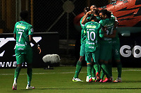 BOGOTA-COLOMBIA, 18-09-2020: Matias Mier de La Equidad, celebra con sus compañeros de equipo el gol anotado a Boyaca Chico F.C., durante partido entre La Equidad y Boyaca Chico F.C. de la fecha 9 por la Liga BetPlay DIMAYOR I 2020, jugado en el estadio Metropolitano de Techo en la ciudad de Bogota. / Matias Mier of La Equidad celebrates with his teamates a scored goal to Boyaca Chico F.C., during a match La Equidad and Boyaca Chico F.C., of the 9th date for of BetPlay DIMAYOR League I 2020 at the Metropolitano de Techo stadium in Bogota city. / Photo: VizzorImage  / Santiago Cortes / Cont.