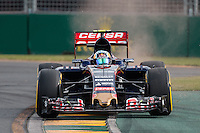 March 14, 2015: Carlos Sainz (ESP) #55 from the Scuderia Toro Rosso team rounds turn two during qualification at the 2015 Australian Formula One Grand Prix at Albert Park, Melbourne, Australia. Photo Sydney Low