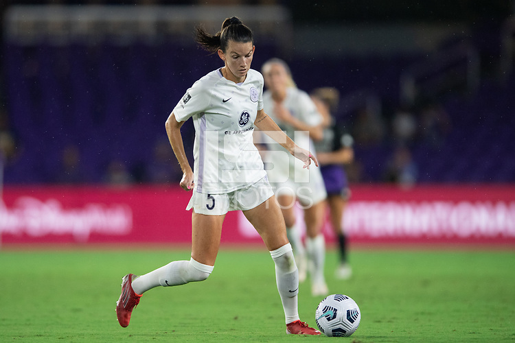 ORLANDO, FL - SEPTEMBER 11: Cece Kizer #5 of Racing Louisville FC dribbles a ball during a game between Racing Louisville FC and Orlando Pride at Exploria Stadium on September 11, 2021 in Orlando, Florida.