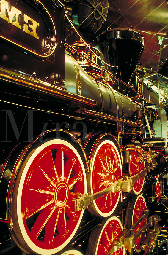 detail of locomotive at Railroad Museum in Sacramento, CA. Trains, engines. Sacramento California USA.