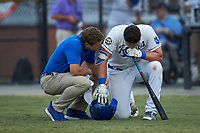 Burlington Royals Athletic Trainer Brad Groleau checks on Vinnie Pasquantino (33) after he was hit by a pitch during the game against the Johnson City Cardinals at Burlington Athletic Stadium on September 4, 2019 in Burlington, North Carolina. The Cardinals defeated the Royals 8-6 to win the 2019 Appalachian League Championship. (Brian Westerholt/Four Seam Images)
