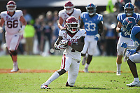 Arkansas wide receiver Trey Knox (7) carries the ball, Saturday, October 9, 2021 during the fourth quarter of a football game at Vaught Hemingway Stadium in Oxford, Miss. Check out nwaonline.com/211010Daily/ for today's photo gallery. <br /> (NWA Democrat-Gazette/Charlie Kaijo)