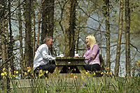 DS Smith Packaging, Crumlin, Newport, which has won a Green Space Business Award.<br /> Neil Walding, Plant Manager, left, and Laura Morgan, Area Sales Manager, right, enjoy a work break in the lovely surroundings.