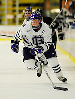 30 December 2007: Holy Cross Crusaders' defenseman Matt Burke, a Senior from Milton, MA, in action against the Western Michigan University Broncos at Gutterson Fieldhouse in Burlington, Vermont. The teams skated to a 1-1 tie, however the Broncos took the consolation game in a 2-0 shootout to win the third game of the Sheraton/TD Banknorth Catamount Cup Tournament...Mandatory Photo Credit: Ed Wolfstein Photo