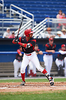 Batavia Muckdogs designated hitter J.C. Millan (4) at bat during a game against the Tri-City ValleyCats on July 16, 2017 at Dwyer Stadium in Batavia, New York.  Tri-City defeated Batavia 13-8.  (Mike Janes/Four Seam Images)