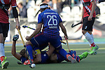 GER - Mannheim, Germany, October 09: During the men hockey match between Mannheimer HC (blue) and TSV Mannheim (red) on October 9, 2016 at Mannheimer HC in Mannheim, Germany. Final score 4-3 (HT 1-1). (Photo by Dirk Markgraf / www.265-images.com) *** Local caption *** Guido Barreiros #26 of Mannheimer HC, Timm Haase #27 of Mannheimer HC
