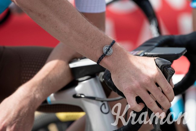 Romain Bardet (FRA/AG2R-La Mondiale) wearing his bracelet-with-personal-logo at the race start in Megève<br /> <br /> Stage 5: Megève to Megève (154km)<br /> 72st Critérium du Dauphiné 2020 (2.UWT)<br /> <br /> ©kramon
