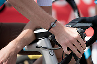 Romain Bardet (FRA/AG2R-La Mondiale) wearing his bracelet-with-personal-logo at the race start in Megève<br /> <br /> Stage 5: Megève to Megève (154km)<br /> 72st Critérium du Dauphiné 2020 (2.UWT)<br /> <br /> ©kramon
