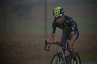 Beñat Intxausti (ESP/Movistar) battling the elements on his own<br /> <br /> 2014 Tour de France<br /> stage 19: Maubourguet - Bergerac (208km)