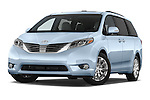Stock pictures of low aggressive front three quarter view of2015 Toyota Sienna Limited V6 8-Passenger 5 Door Mini Van Low Aggressive