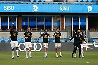 SAN JOSE, CA - SEPTEMBER 5: Colorado Rapids players warm up before a game between Colorado Rapids and San Jose Earthquakes at Earthquakes Stadium on September 5, 2020 in San Jose, California.